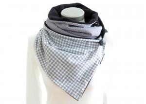 Milo-Schaly Wickelschal mit Knopf Damen Hahnentritt Schal Fleece grau weiß Knopfschal (Kopie id: 100241841) - Handarbeit kaufen