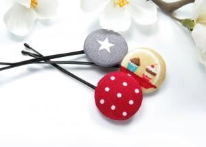 Kayleigh-und-Sorrow 3er-Set Haarklammern Haarnadeln cupcake Stern Punkte rot grau bunt Geschenk Mitbringsel Bad Hair Day  - Handarbeit kaufen