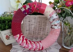 Türkranz Shabby Patchwork Kranz pink rosa Einzelstück Landhaus Deko Wandkranz - Handarbeit kaufen