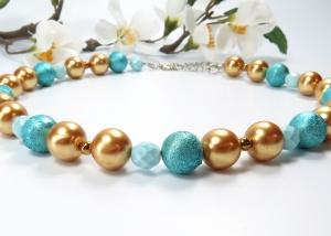 Kayleigh-und-Sorrow Halskette türkis goldfarben Collier Einzelstück Kette - Handarbeit kaufen