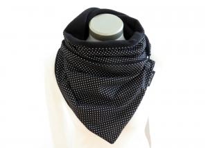 Milo-Schaly Wickelschal mit Knopf Punkte schwarz-weiß  Damen Schal Fleece Knopfschal  - Handarbeit kaufen