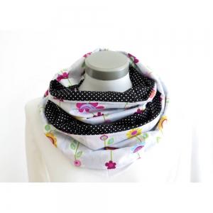 Milo-Schaly Loop Damen Schlauchschal Baumwolle Wendeloop Blumen weiß-bunt Punkte schwarz-weiß Schal - Handarbeit kaufen