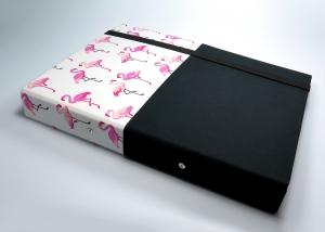 Milo-Schaly Organizer DIN A4 Schreibmappe Ordner Ringbuchordner Ringbuch Flamingo dots Filz vegan schwarz weiß B-Ware - Handarbeit kaufen