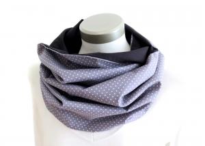 Milo-Schaly Loop Schal Damen Baumwolle Punkte grau weiß Loopschal Wendeschal - Handarbeit kaufen
