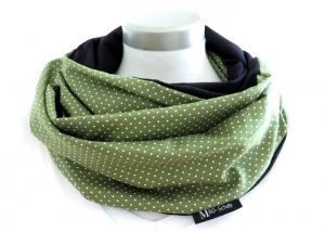 Milo-Schaly Loop Schal Damen Baumwolle Punkte grün weiß Loopschal Wendeschal (Kopie id: 100242780) - Handarbeit kaufen
