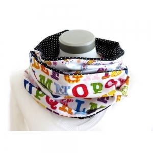 Milo-Schaly Loop Schal Damen Baumwolle weiß bunt Punkte Paisley Schlauchschal Baumwollschal Loopschal Patchwork  - Handarbeit kaufen