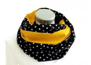 Milo-Schaly   XXL Loop Stillschal extrabreit Schlauchschal Baumwolle Sterne Punkte gelb schwarz - Handarbeit kaufen