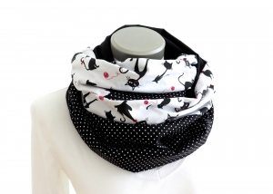 Milo-Schaly   XXL Loop Stillloop Stillschal extrabreit Baumwolle Katzen Punkte weiß schwarz - Handarbeit kaufen