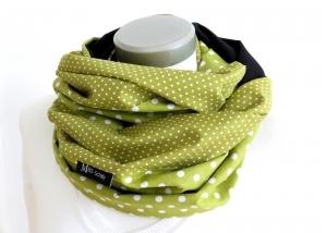 Milo-Schaly XXL Loop Stillschal extrabreit Schlauchschal Baumwolle Punkte Tupfen grün-weiß - Handarbeit kaufen