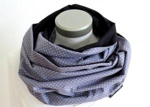 Milo-Schaly XXL Loop Stillloop Stillschal extrabreit Punkte grau weiß Baumwolle Geschenk zur Geburt - Handarbeit kaufen