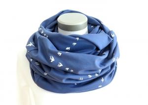 Milo-Schaly   XXL Loop Stillloop Stillschal extrabreit Schwalben blau weiß Baumwolle Jersey Baumwolljersey - Handarbeit kaufen