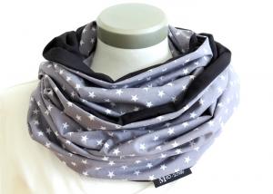 Milo-Schaly XXL Loop Stillloop Stillschal extrabreit Sterne grau weiß Baumwolle   - Handarbeit kaufen