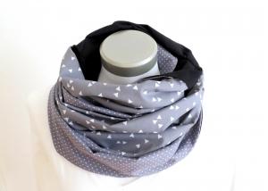 Milo-Schaly XXL Loop Stillschal extrabreit Schlauchschal Baumwolle Dreiecke Punkte grau-weiß triangle - Handarbeit kaufen