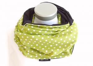 Milo-Schaly XXL Loop Stillloop Stillschal extrabreit big dots grün weiß Punkte Tupfen Baumwolle Baumwollschal - Handarbeit kaufen
