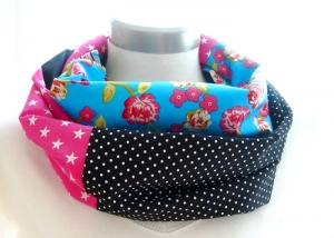 Milo-Schaly Loop ALLROUNDER  4+ Varianten Baumwolle Patchwork Wendeloop Patchworkloop blau pink schwarz Punkte Blumen Sterne Einzelstück - Handarbeit kaufen