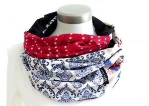 Milo-Schaly  Loop ALLROUNDER  4+ Varianten Baumwolle Patchworkloop weiß blau rot Loopschal Schlauchschal Sterne - Handarbeit kaufen
