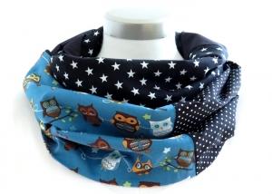 Milo-Schaly Loop ALLROUNDER  4+ Varianten Baumwolle Eule Patchwork Loopschal blau schwarz Sterne Punkte Schal