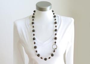 Kayleigh-und-Sorrow lange Halskette Boho Ethno Kette braun goldfarben - Handarbeit kaufen