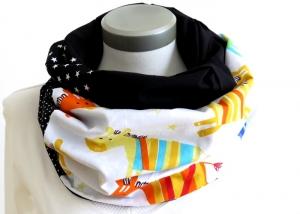 Milo-Schaly  Loop ALLROUNDER 4+ Varianten Baumwolle Pferde Patchwork Sterne Punkte Loopschal Einzelstück Handarbeit schwarz weiß bunt Wendeschal - Handarbeit kaufen