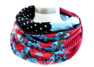 Milo-Schaly  Loop Schal Damen Baumwolle Wendeschal Patchwork rot blau  - Handarbeit kaufen