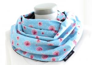 Milo-Schaly Loop Baumwolle Wendeloop Punkte Rose hellblau rosa Baumwollschal Loopschal Wendeschal - Handarbeit kaufen