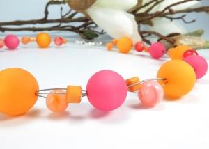 Kayleigh-und-Sorrow  Kette kurz Einzelstück Collier orange pink Halskette - Handarbeit kaufen