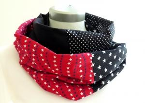 Milo-Schaly  Loop ALLROUNDER  4+ Varianten Baumwolle stars Wendeloop Sterne  schwarz rot weiß Baumwollschal Handarbeit Patchwork - Handarbeit kaufen
