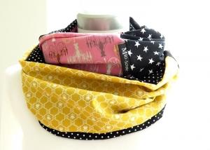 Milo-Schaly  Loop ALLROUNDER  4+ Varianten Baumwolle Wendeloop rosa Sterne Punkte Baumwollschal Schal Einzelstück - Handarbeit kaufen