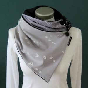 Milo-Schaly Wickelschal mit Knopf Damen Schwalben grau Patchwork Knopfschal Fleece warmer Schal  - Handarbeit kaufen