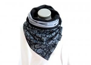 Milo-Schaly Wickelschal mit Knopf Damen Paisley Patchwork Knopfschal Fleece schwarz weiß warmer Schal - Handarbeit kaufen