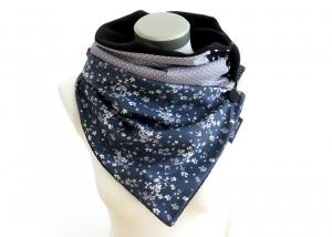 Milo-Schaly Wickelschal mit Knopf Damen Blümchen Patchwork Fleece blau grau Kuschelschal handmade Winterschal Schal Punkte Sterne - Handarbeit kaufen