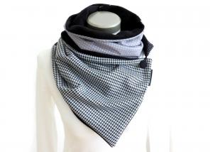 Wickelschal mit Knopf Damen Patchwork Fleece warmer Schal Knopfschal Hahnentritt Milo-Schaly  - Handarbeit kaufen