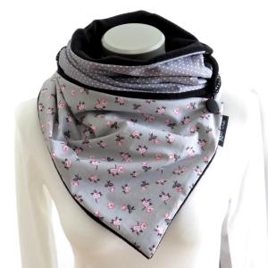 Milo-Schaly  Wickelschal Rosen grau Fleece warmer Schal Knopfschal Schlauchschal - Handarbeit kaufen