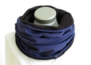 Milo-Schaly Loop Fleece Loopschal blau weiß Punkte Kuschelschal  - Handarbeit kaufen