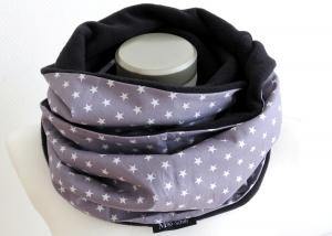 Milo-Schaly Loop Fleece Loopschal Sterne grau weiß Kuschelschal Schlauchschal - Handarbeit kaufen