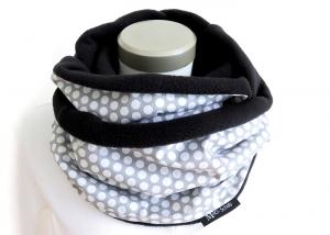 Milo-Schaly Loop Fleece Loopschal Punkte Tupfen grau weiß Kuschelschal Schlauchschal   - Handarbeit kaufen