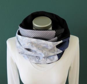 Milo-Schaly Loopschal Damen Fleece grau blau Loop Schlauchschal Fleece Schal Kuschelschal   - Handarbeit kaufen