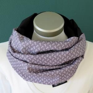 Milo-Schaly  Loop Damen Anker Schal grau weiß Schlauchschal  Baumwolle Wendeloop  - Handarbeit kaufen