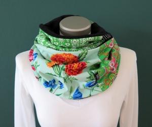 Milo-Schaly Loopschal Damen Blumen grün bunt Fleece Einzelstück  Loop Schlauchschal  - Handarbeit kaufen