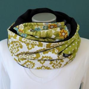 Milo-Schaly Loopschal Damen grün bunt Fleece Einzelstück  Loop Schlauchschal   - Handarbeit kaufen