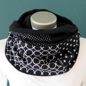 Milo-Schaly Loopschal Damen schwarz weiß Retrokreise Loop Schlauchschal Fleece Schal Kuschelschal    - Handarbeit kaufen
