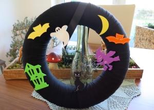 Halloween Deko Kranz Landhaus Patchwork Türkranz schwarz bunt Hexe Gespenst Fledermaus Shabby - Handarbeit kaufen