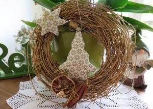 Türkranz Weihnachten Deko Kranz Winter goldfarben weiß Tannenbaum Stern Einzelstück - Handarbeit kaufen