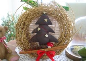 Türkranz Kranz Baum Weihnachten Deko Winter Advent Weihnachtsdeko goldfarben - Handarbeit kaufen