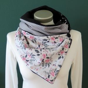 Milo-Schaly  Wickelschal mit Knopf Damen Rosen weiß grau Fleece warmer Schal Knopfschal Schlauchschal Kuschelschal   - Handarbeit kaufen