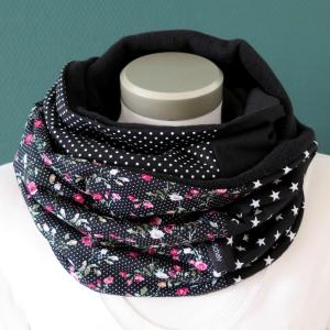 Milo-Schaly Loopschal Damen Rosen Romantik schwarz Loop Fleece Schlauchschal   - Handarbeit kaufen