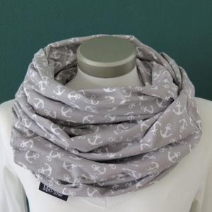 Milo-Schaly XXL Loop Schlauchschal Stillschal extrabreit Jersey Baumwolle Anker grau Baumwolljersey  - Handarbeit kaufen