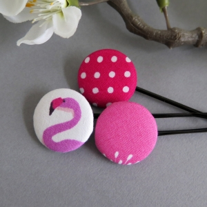 Kayleigh-und-Sorrow 3er-Set Haarklammern Haarnadeln pink weiß Flamingo Punkte Geschenk Mitbringsel Bad Hair Day  - Handarbeit kaufen