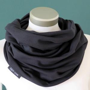 Milo-Schaly Loop Sweat uni schwarz Baumwolle Herren kuscheliger Schal unisex - Handarbeit kaufen