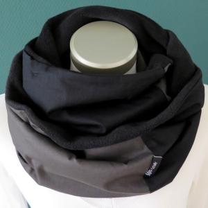 Milo-Schaly Loopschal Loop Schal Herren Schlauchschal Fleece schwarz anthrazit Männer Herrenschal - Handarbeit kaufen